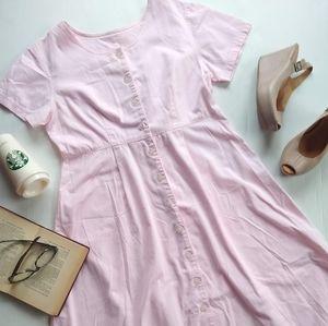 Vintage button front pink denim modest midi dress